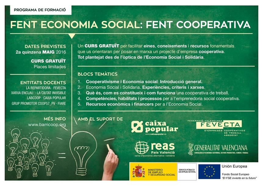 """Curs de formació """"Fent economia social, fent cooperativa"""""""